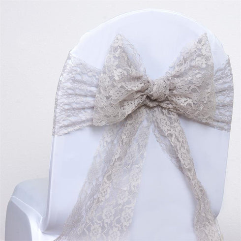 5pc x JOLLY GOOD Lace Chair Sashes - Silver