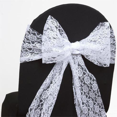 5pc x JOLLY GOOD Lace Chair Sashes - White