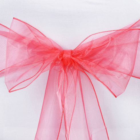 5pc x Coral Organza Chair Sash