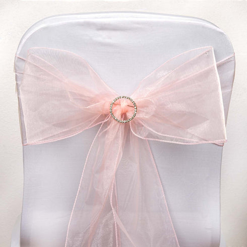 5 pcs wholesale blush sheer organza chair sashes tie bows catering