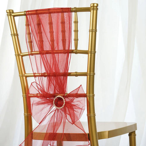 Sheer Organza Chair Sashes - 5pcs - Wine