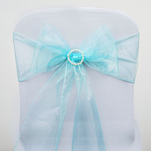 5 PCS | Light Blue Sheer Organza Chair Sashes