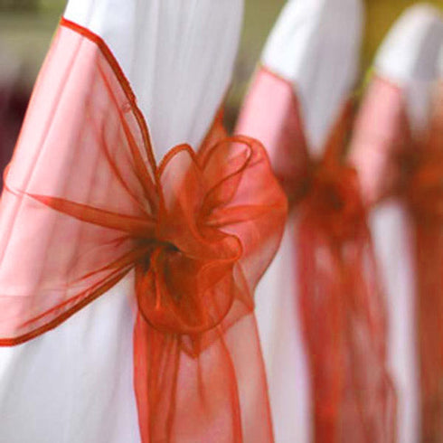 5 PCS | Burnt Orange Sheer Organza Chair Sashes