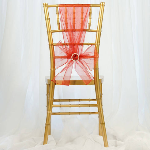 5pc x Burnt Orange Organza Chair Sash