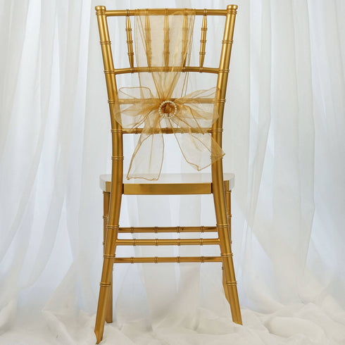 5pc x Gold Chair Organza Sash