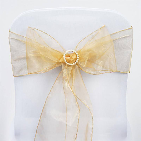 5 PCS | Gold Sheer Organza Chair Sashes