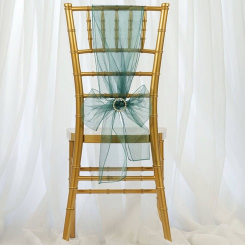 5pc x Hunter Green Organza Chair Sash