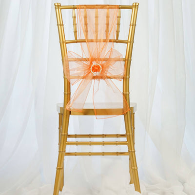 5pc x Orange Organza Chair Sash