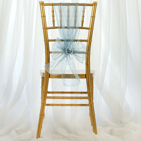 5 PCS | Serenity Blue Sheer Organza Chair Sashes