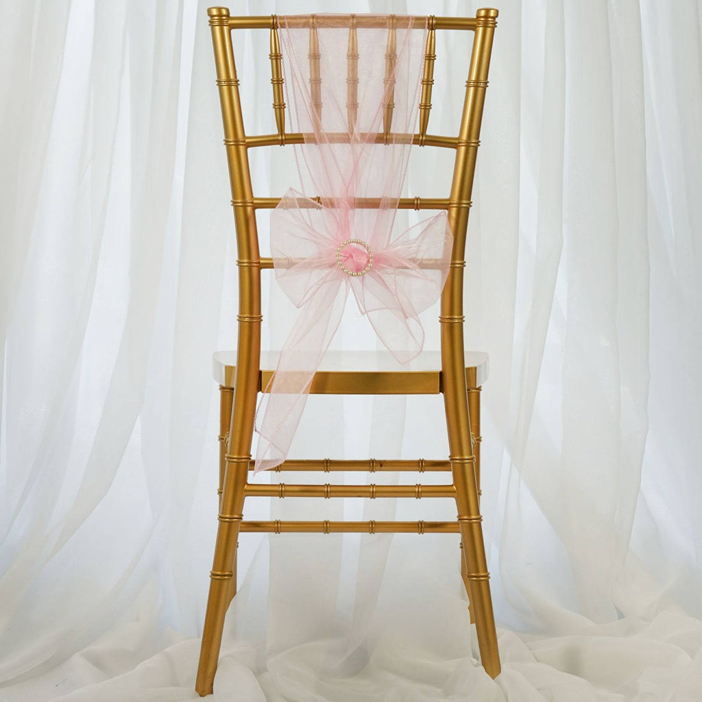 5pc x Pink Organza Chair Sash