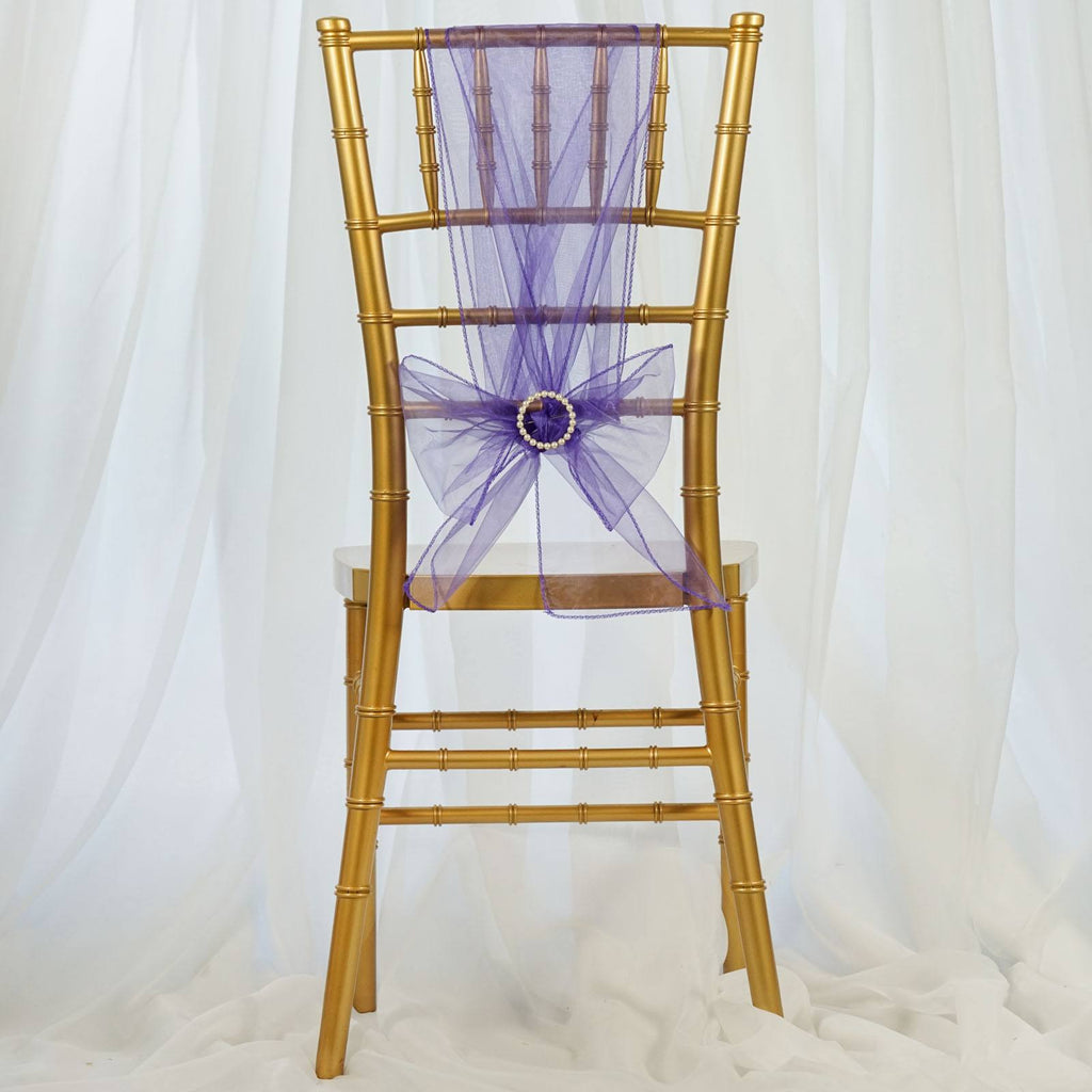 5pc x Purple Organza Chair Sash
