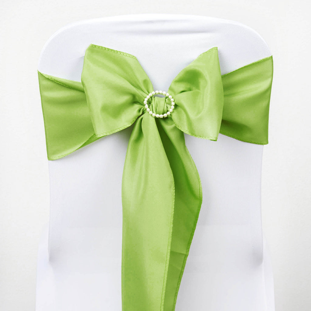 5 PCS x APPLE GREEN Polyester Chair Sashes Tie Bows Catering Wedding Party Decorations
