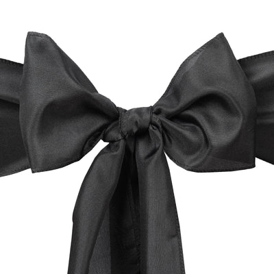5 PCS x BLACK Polyester Chair Sashes Tie Bows Catering Wedding Party Decorations