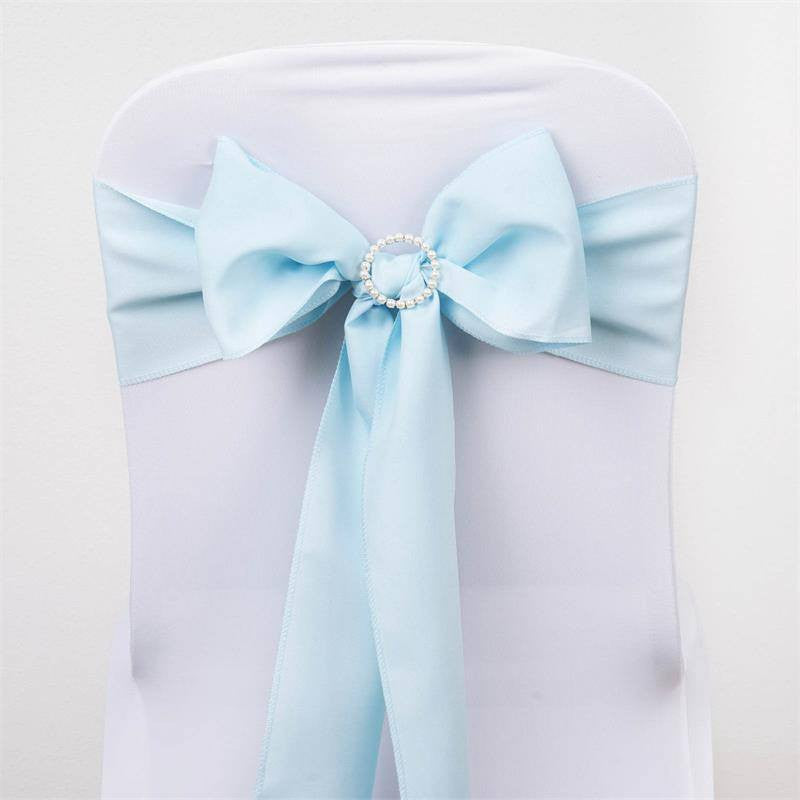 5 PCS x LIGHT BLUE Polyester Chair Sashes Tie Bows Catering Wedding Party Decorations