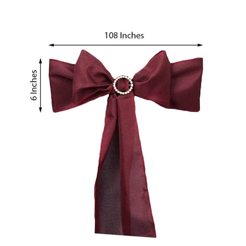 5 PCS | BURGUNDY Polyester Chair Sashes