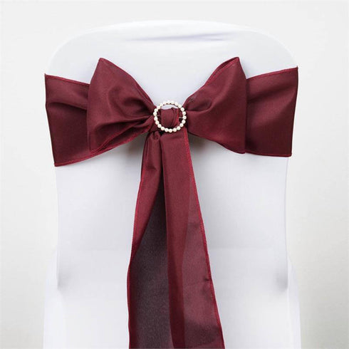 5 PCS x BURGUNDY Polyester Chair Sashes Tie Bows Catering Wedding Party Decorations