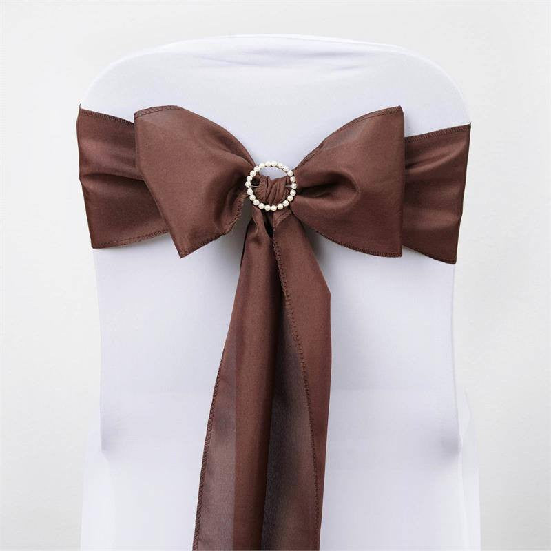 5 PCS x CHOCOLATE Polyester Chair Sashes Tie Bows Catering Wedding Party Decorations