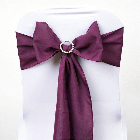 5 PCS x EGGPLANT Polyester Chair Sashes Tie Bows Catering Wedding Party Decorations