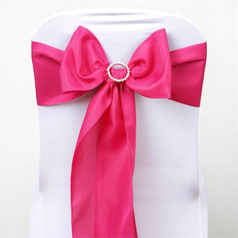 5 PCS x FUSHIA Polyester Chair Sashes Tie Bows Catering Wedding Party Decorations