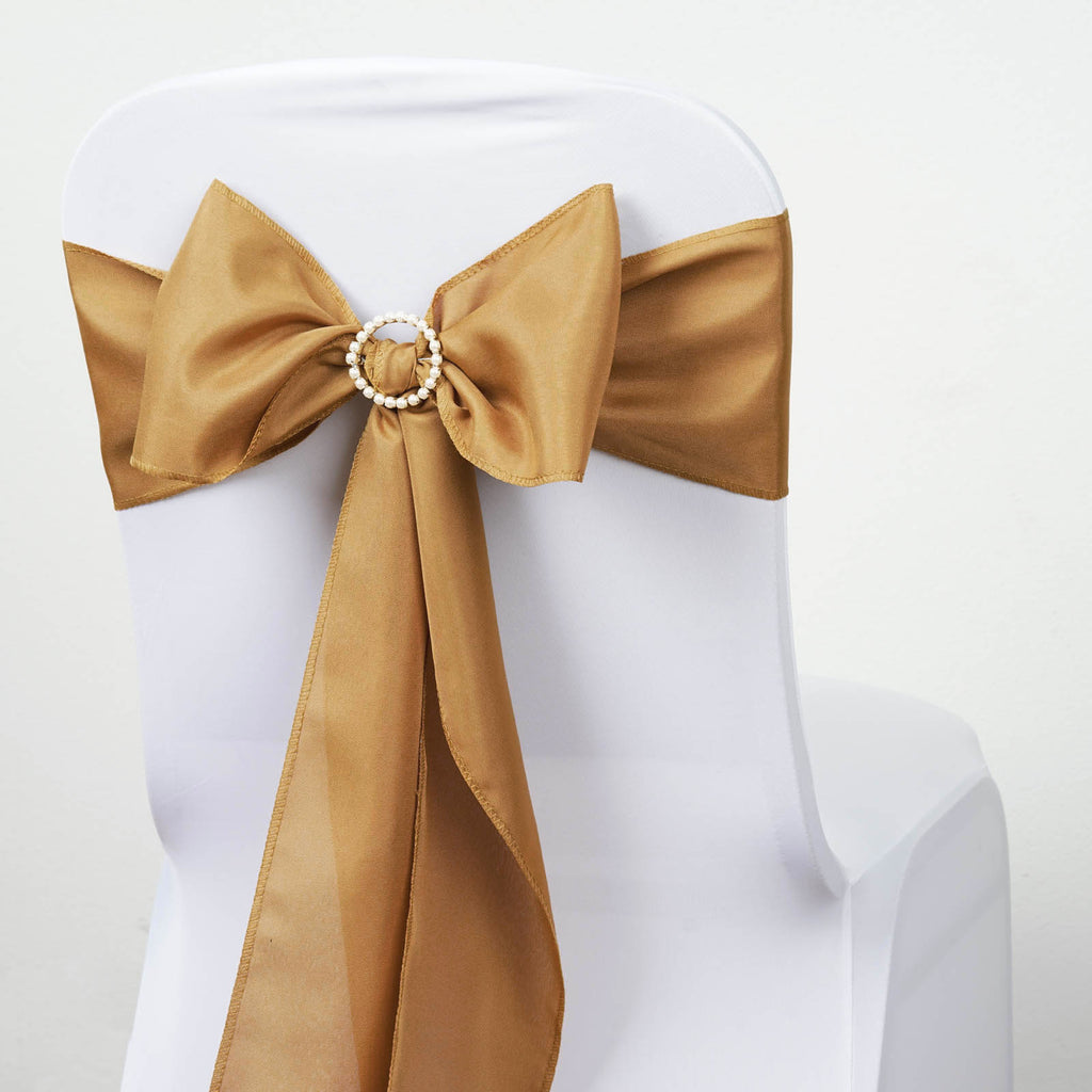 5 PCS x GOLD Polyester Chair Sashes Tie Bows Catering Wedding Party Decorations