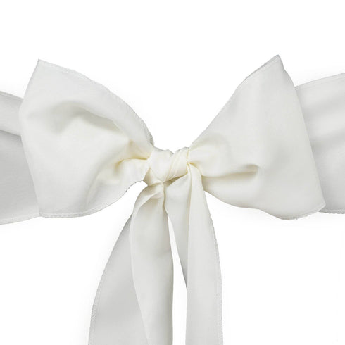 5 PCS x IVORY Polyester Chair Sashes Tie Bows Catering Wedding Party Decorations