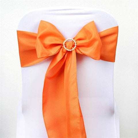 5 PCS x ORANGE Polyester Chair Sashes Tie Bows Catering Wedding Party Decorations