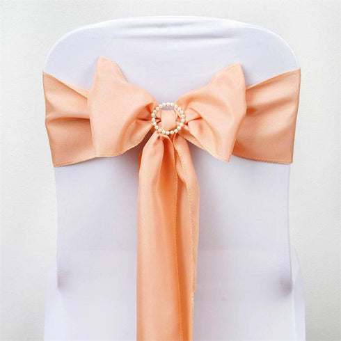 5 PCS x PEACH Polyester Chair Sashes Tie Bows Catering Wedding Party Decorations