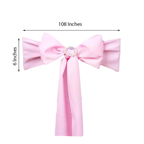 "5 PCS | 6"" x 108"" Pink Polyester Chair Sash"