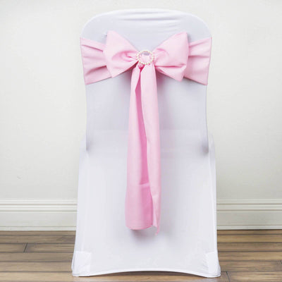 5 PCS x PINK Polyester Chair Sashes Tie Bows Catering Wedding Party Decorations