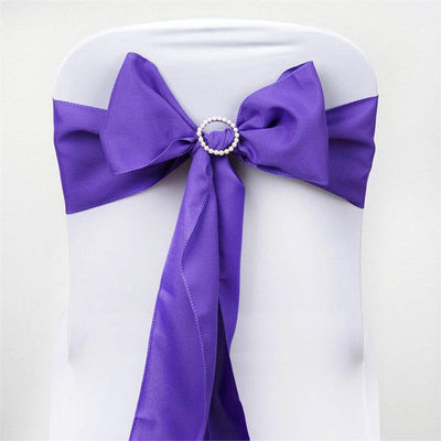 5 PCS x PURPLE Polyester Chair Sashes Tie Bows Catering Wedding Party Decorations