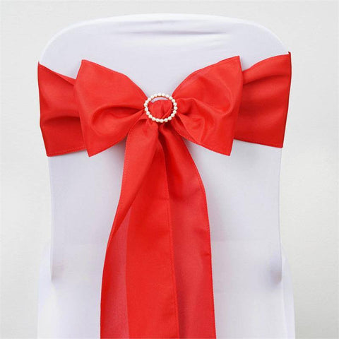 5 PCS x RED Polyester Chair Sashes Tie Bows Catering Wedding Party Decorations
