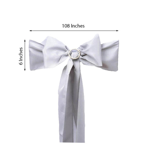 5 PCS | SILVER Polyester Chair Sashes