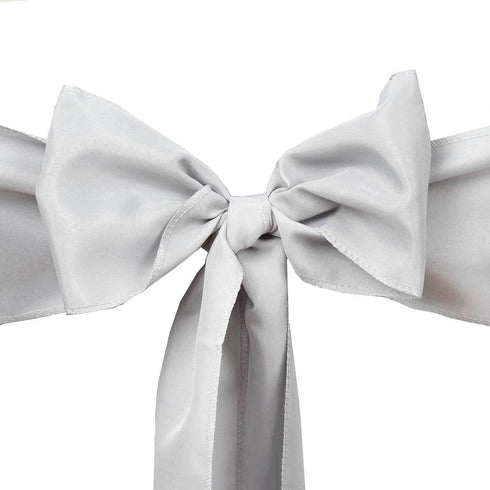 5 PCS x SILVER Polyester Chair Sashes Tie Bows Catering Wedding Party Decorations