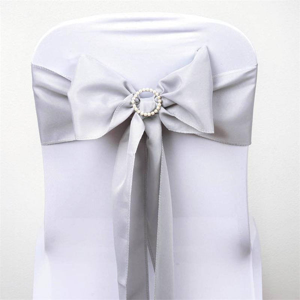 "5 PCS | 6"" x 108"" Silver Polyester Chair Sash"