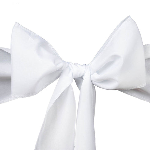 5 PCS x WHITE Polyester Chair Sashes Tie Bows Catering Wedding Party Decorations