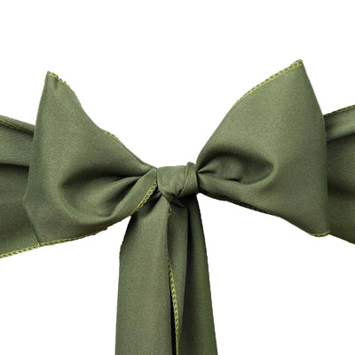 5 PCS x MOSS/WILLOW Polyester Chair Sashes Tie Bows Catering Wedding Party Decorations