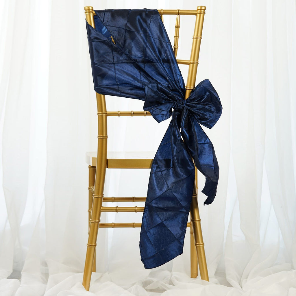 5pc x Navy Blue Pintuck Chair Sash