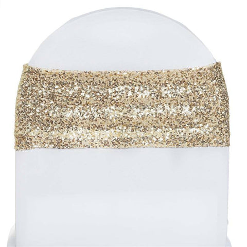 5pc x SEXY SEQUINED Spandex Chair Sash - Champagne