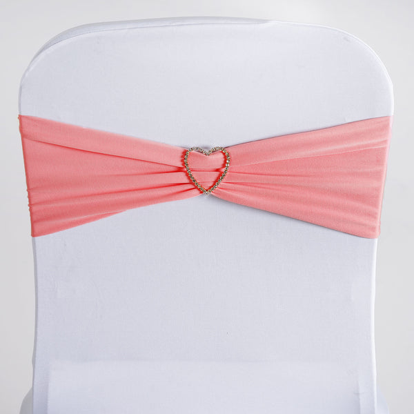 "5 pack | 5""x12"" Rose Quartz Spandex Stretch Chair Sash"