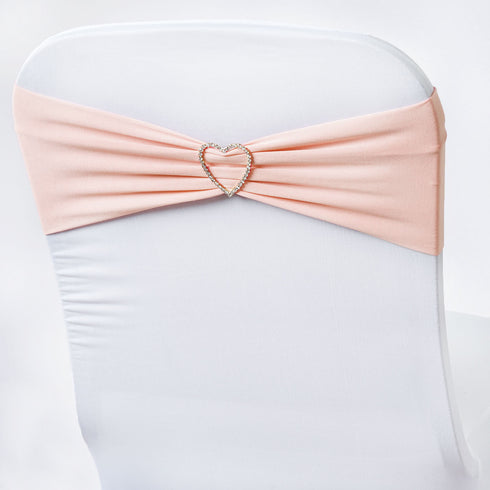 5 Pack Wholesale   Spandex Stretch Chair Sash Wedding Reception Banquet Events- Rose Gold | Blush