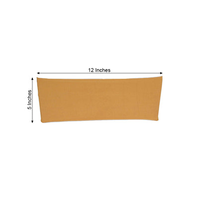 "5 pack | 5""x12"" Gold Spandex Stretch Chair Sash"