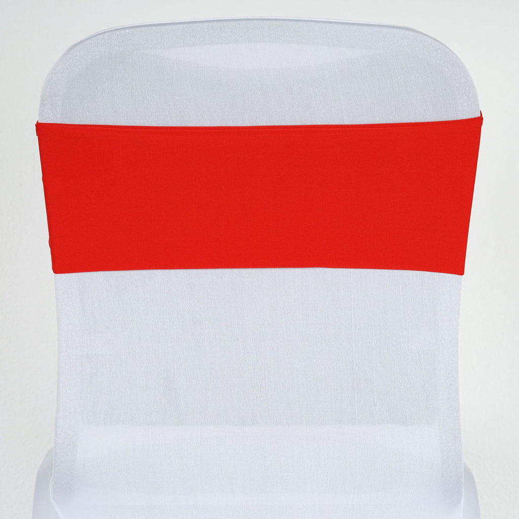 5 Pcs Wholesale Red Spandex Stretch Chair Sash Catering