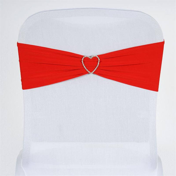"5 pack | 5""x12"" Red Spandex Stretch Chair Sash"