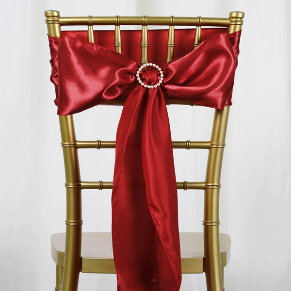"5 pack - 6""x106"" Wine Satin Chair Sashes"
