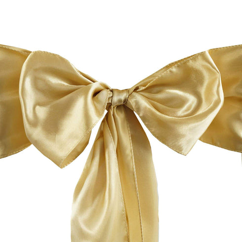 Satin Chair Sash | Champagne | Event Decoration Supplies | 5pcs | 6 x 106""