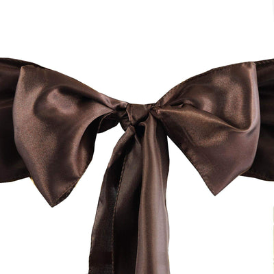 Satin Chair Sash | Chocolate | Event Decoration Supplies | 5pcs | 6 x 106""