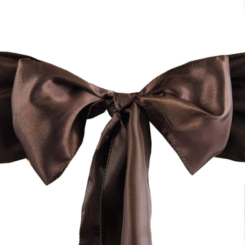 "5 pack - 6""x106"" Chocolate Satin Chair Sashes"