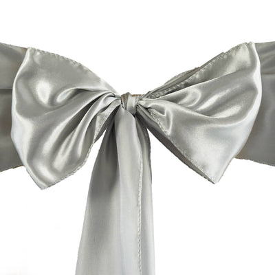 Satin Chair Sash | Silver | Event Decoration Supplies | 5pcs | 6 x 106""