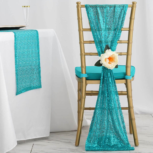 "5 Pack - 12""x108"" Turquoise Premium Sequin Chair Sashes"