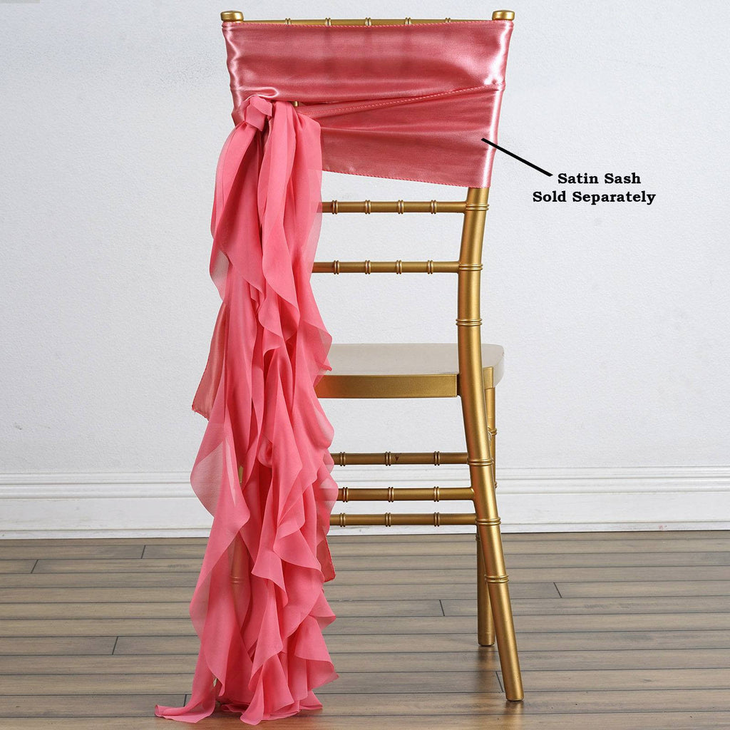 Chiffon ROSE QUARTZ Curly Chair Sashes For Catering Wedding Party Decorations